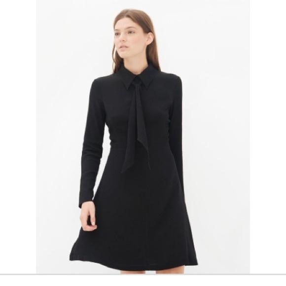 Sandro Dresses Black Tie Neck Cocktail Dress Long Sleeve Poshmark